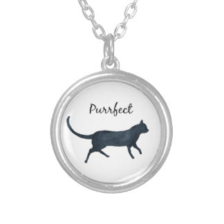 "Black cat ""purrfect"" silver plated necklace"