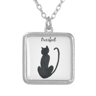 "Black Cat ""purrfect Silver Plated Necklace"