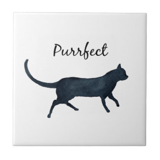 "Black cat ""purrfect"" tile"