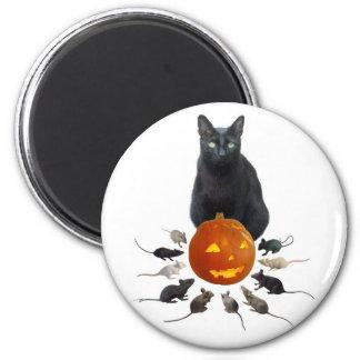 Black Cat, Rats and Jack-o-Lantern Magnet