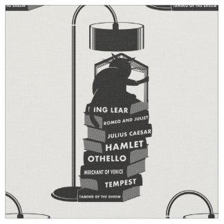 Black Cat Reading Shakespeare Plays Fabric