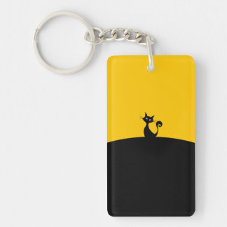 black cat Rectangle (double-sided) Keychain
