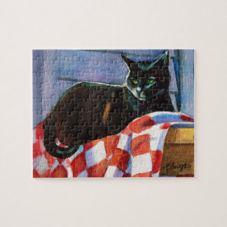 Black Cat Red Check Tablecloth Jigsaw Puzzle