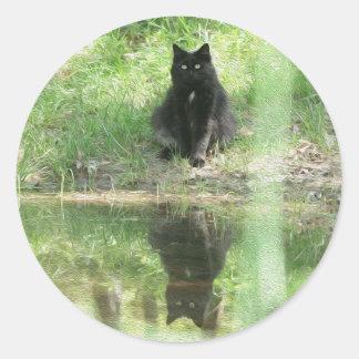'Black Cat Reflections' Round Sticker