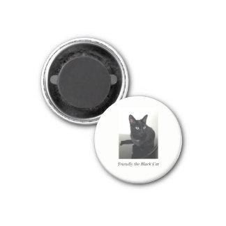 Black Cat Refrigerator Magnet - round