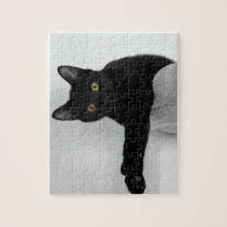 Black Cat relaxing on couch Jigsaw Puzzle