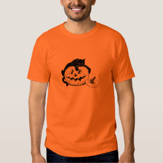 Black Cat Resting On Top of a Carved Pumpkin Shirt