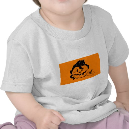 Black Cat Resting On Top of a Carved Pumpkin T Shirts