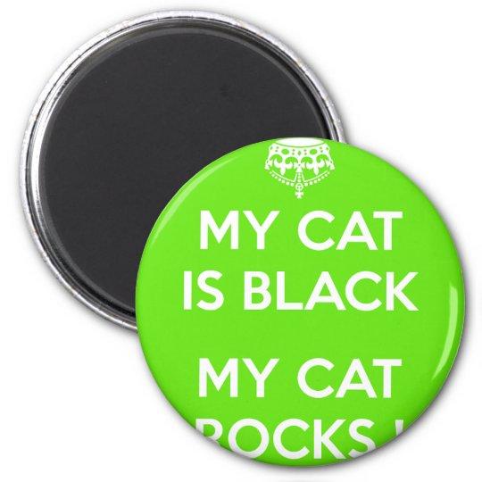 Black cat rocks 2 inch round magnet