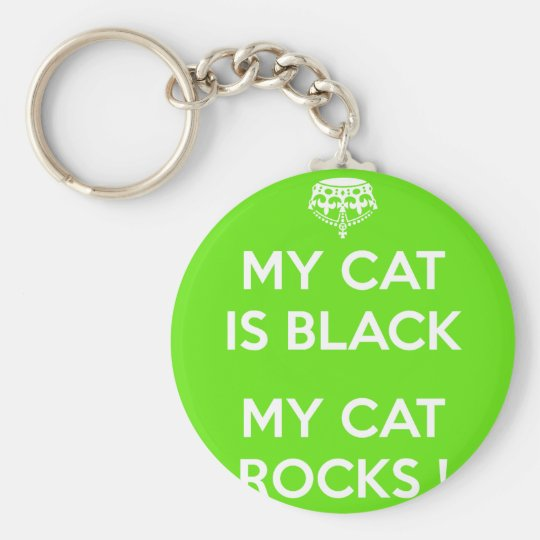 Black cat rocks basic round button keychain