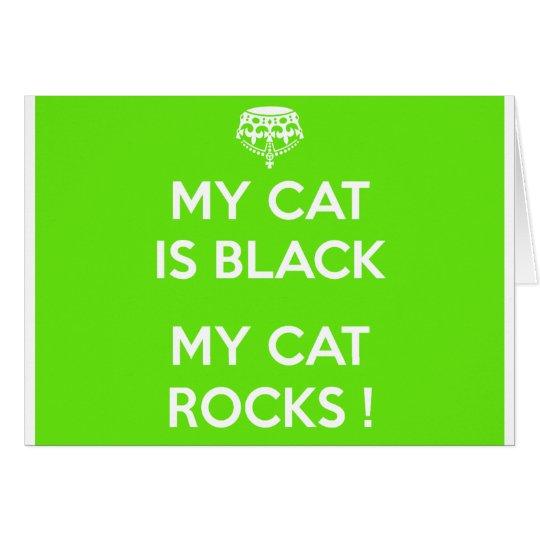 Black cat rocks card