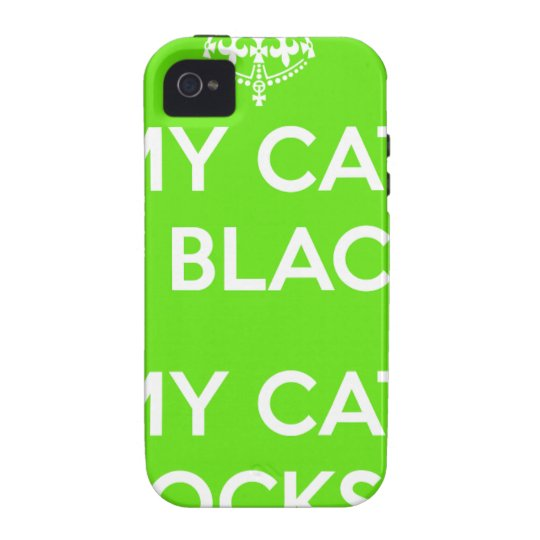 Black cat rocks Case-Mate iPhone 4 cases