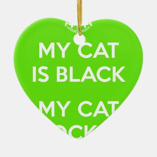 Black cat rocks ceramic heart ornament