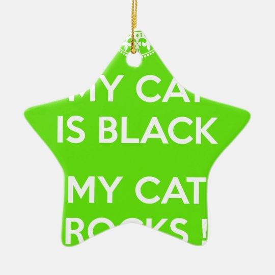 Black cat rocks ceramic star ornament