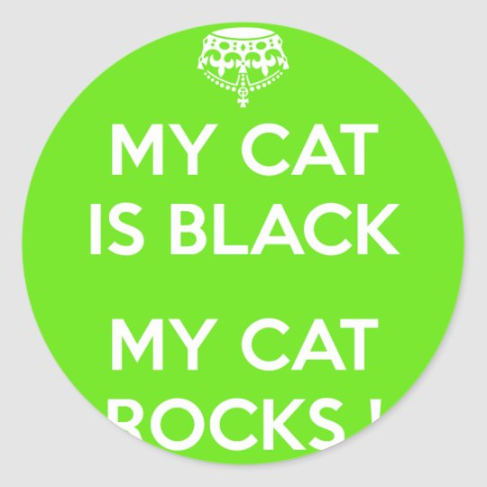 Black cat rocks classic round sticker