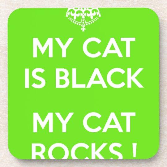 Black cat rocks coaster