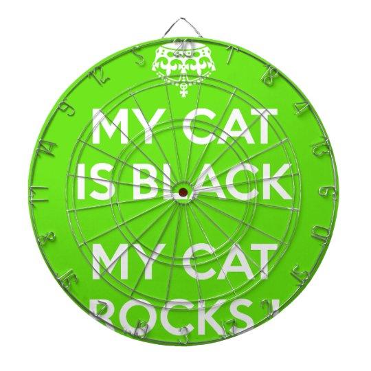 Black cat rocks dartboard