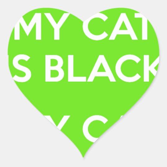 Black cat rocks heart sticker