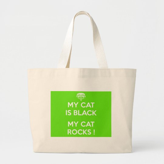 Black cat rocks large tote bag