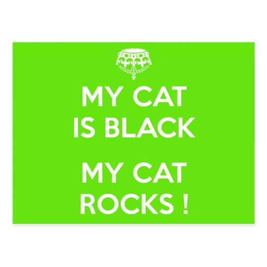 Black cat rocks postcard