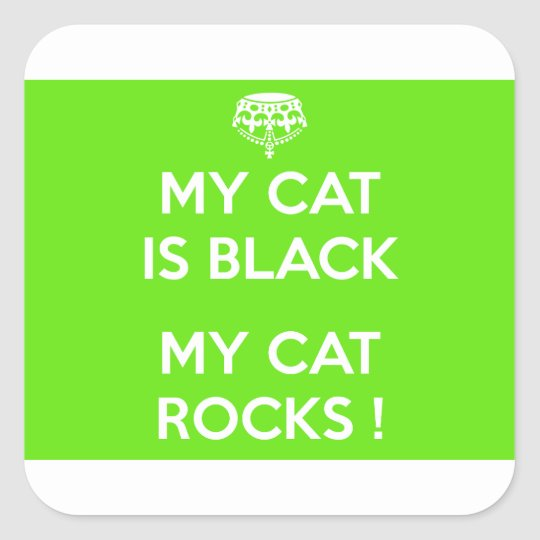 Black cat rocks square sticker