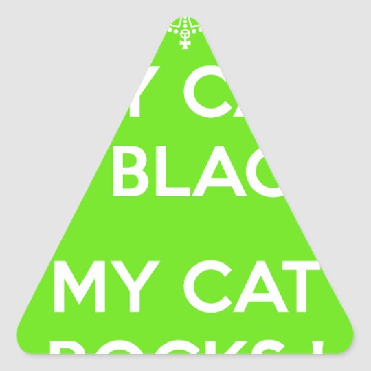 Black cat rocks triangle sticker