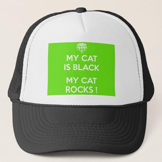 Black cat rocks trucker hat