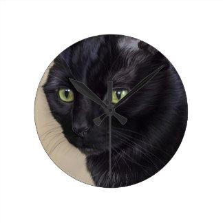 Black Cat Round Clock