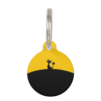 Black Cat Round Small Pet Tag