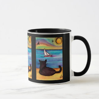 Black Cat Sailboat Watch Mug
