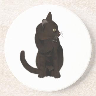 Black Cat Sandstone Coaster