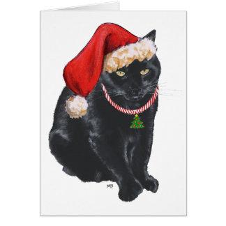 Black Cat Santa's Helper at Christmas Card