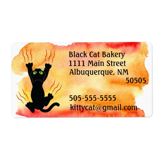 Black Cat scratching watercolor address Shipping Label