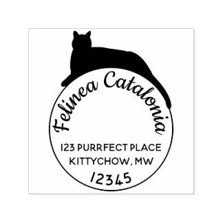 Black Cat Self Inking Round Address Stamp Custom