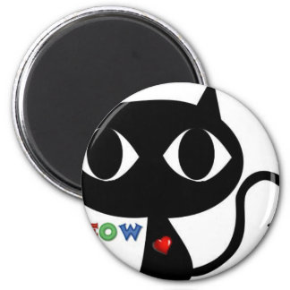 Black Cat Silhouett with Red Heart and Cute Meow 2 Inch Round Magnet