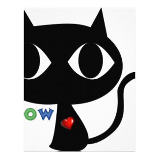 Black Cat Silhouett with Red Heart and Cute Meow Letterhead Template