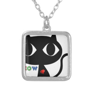Black Cat Silhouett with Red Heart and Cute Meow Silver Plated Necklace