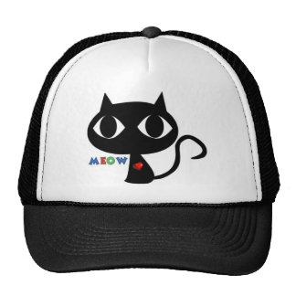 Black Cat Silhouett with Red Heart and Cute Meow Trucker Hat