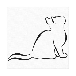 Black cat silhouette canvas print