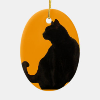 Black Cat Silhouette Ceramic Ornament