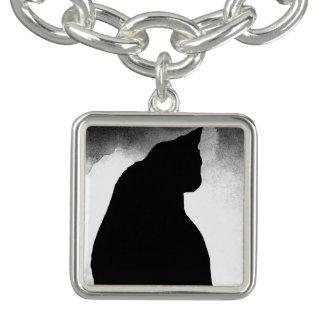 Black Cat Silhouette Charm Bracelet