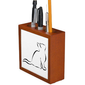 Black cat silhouette desk organizer