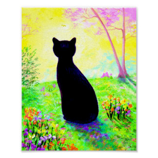 Black Cat Silhouette Flowers Creationarts Poster