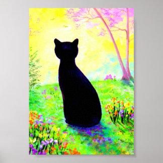 Black Cat Silhouette Flowers Creationarts Poster