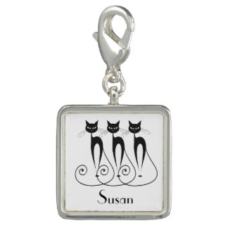 Black cat silhouette funny charm
