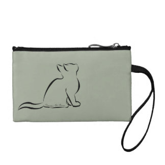 Black cat silhouette, inside text coin purse