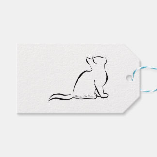 Black cat silhouette, inside text gift tags