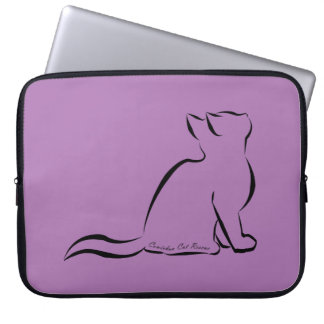 Black cat silhouette, inside text laptop sleeve