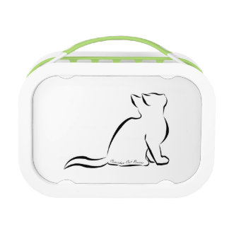 Black cat silhouette, inside text lunchbox