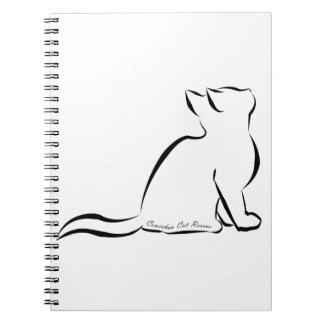 Black cat silhouette, inside text notebook
